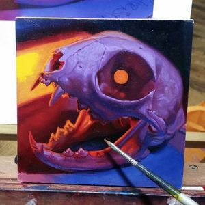 A painting of cat's skull from Christian Perez body of work (IG—christian1perez). #catskull #ChristianPerez #fineart #oilpaintings #skulls