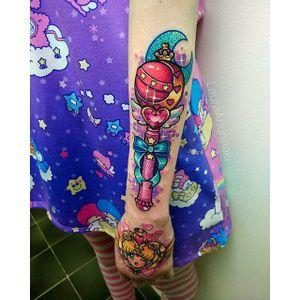 Neptune wand tattoo by Laura Anunnaki. #LauraAnunnaki #magicalgirl #grlpwr #girlpower #magic #feminist #anime #anime #sparkly #girly #kawaii #sailormoon #wand