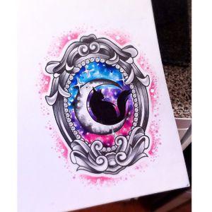 Black cat tattoo design by Leah Sharples #LeahSharples #cat #blackcat #moon #frame