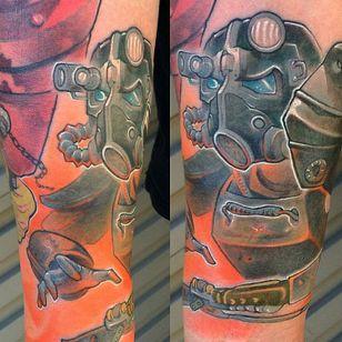 Brotherhood of Steel Tattoo, artist unknown #BrotherhoodOfSteel #BrotherhoodOfSteelTattoo #FalloutTattoos #FalloutTattoo #Fallout4 #Gaming