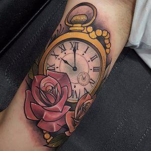 #AnthonyBarrosCastro #neotraditional #neotrad #rose #clock