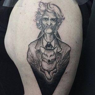 Mark Twain tattoo by by Paupiette #Paupiette #comicstrip #comics #illustrative #marktwain