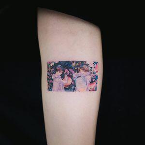 Lantern children tattoo by Sol Tattoo #SolTattoo #smalltattoos #color #watercolor #lantern #light #portrait #painting #flower #flowers #plants #nature #children #pretty #tattoooftheday