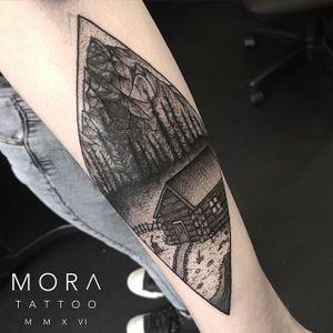 Mountain Cabin Tattoo by Simon Mora #mountain #mountaintattoo #blackworkmounain #blackwork #blackworktattoo #blackworktattoos #blackworkartists #uktattoos #contemporarytattoos #darktattoos #blackink #SimonMora