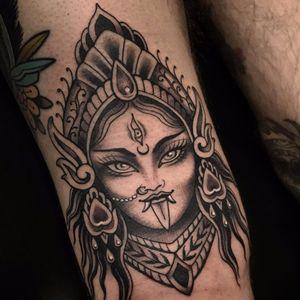 Goddess Kali by Chelsea Rhea #ChelseaRhea #blackandgrey #neotraditional #GoddessKali #Kali #Hindu #jewelry #crown #thirdeye #ladyhead #portrait #lady #whiteink #tattoooftheday