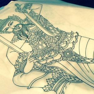 Flawless linework in this stencil drawn up. Tattoo by Chris O'Donnell. #ChrisODonnell #TraditionalJapanese #KingsAvenueTattoo #NewYorkTattooer #oriental #easternculture #warrior #asianart