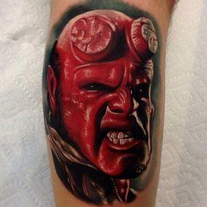 Hellboy tattoo by Audie Fulfer Jr. #Hellboy #darkhorse #comics #graphicnovel #character #colorrealism