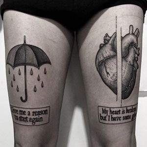 Umbrella ad Heart Tattoo by Luca Cospito #blackwork #blackworkartist #blackink #darkart #darkartist #spanishartist #LucaCospito