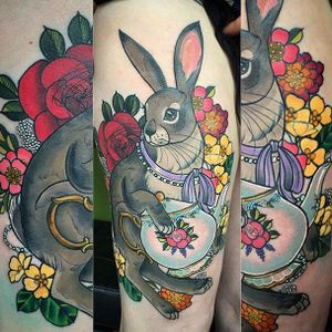 This hare really loves its tea. Tattoo by Charlotte Timmons. #neotraditional #teapot #tea #flowers #hare #CharlotteTimmons