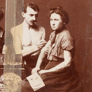 An old photograph of Gus Wagner tattooing a client.  #GusWagner #SouthStreetSeaportMuseum #tattoohistory