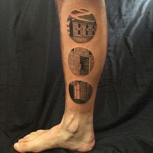 Simple and Beautiful Black Tattoos by Richard Warnock @RichardWarnockTattoo #RichardWarnockTattoo #Black #Blackwork #Illustrative #Scenery #SceneryTattoo #Circular