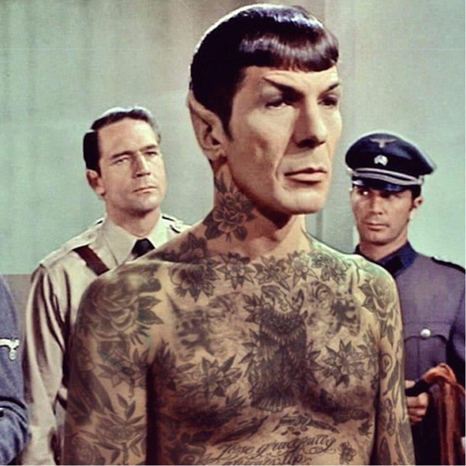 Tattooed Spock photo by Cheyenne Randall aka indiangiver on Instagram. #spock #leonardnimoy #startrek #scifi #CheyenneRandall #tattooedcelebrity