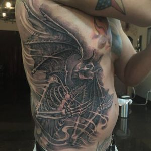 Skeleton tattoo by Josh Duffy #JoshDuffy #blackandgrey #realistic #horror #bioorganic #skeleton #demon