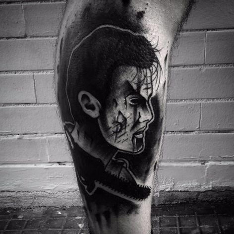 A blackwork portrait of Ash from The Evil Dead by Cavera Volf (IG—caveravolf). #Ash #blackwork #CaveraVolf #EvilDead #traditional