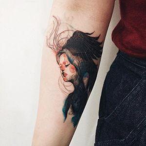 Watercolor style tattoo by Doy. #doy #tattooistdoy #southkorea #southkorean #watercolor #portrait