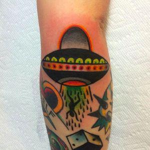 UFO Tattoo by Jon Larson @LarsonTattoos111 #JonLarson #LarsonTattoos #Neotraditional #Bright #Bold #Alien #UFO #Extraterrestrial
