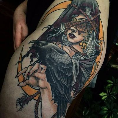 Sam Smith #SamSmith #bruxa #witch #witchtattoo #witchcraft #bruxaria #magia #magic #ocultismo #occult #woman #mulher #neotraditional #corda #rope #corvo #raven #lua #moon