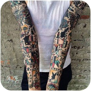Bold Traditional sleeve made by Dan Santoro. (Instagram: @dan_santoro) #traditional #flash #sleeve #DanSantoro #SmithStreet