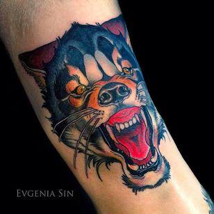 Snarling wolf tattoo by Evgenia Sin. #EvgeniaSin #neotraditional #coloredtattoo #wolf #wolfhead