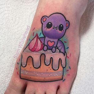 Teddy cake tattoo by Sam Whitehead. #cake #dessert #sweet #delicious #sweettooth #SamWhitehead