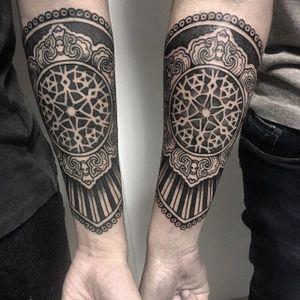 Matching pieces by xnazax #xnazax #blackwork #geometric #tattoooftheday