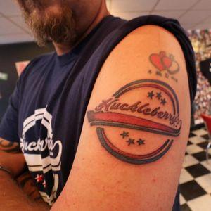 Tony Virr's Huckleberry Diner tattoo. #TonyVirr #Hamburger #CompetitiveEating #HuckleberryDiner #FoodTattoo #DinerTattoo