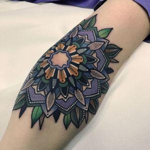 Flower mandala by Mico #micotattoo #Mico #mandala #flower #geometric #pattern #color #dotwork #tattoooftheday