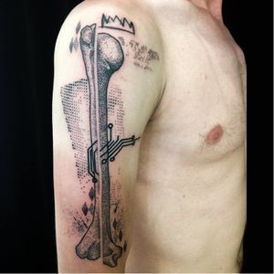 Bone tattoo by Köfi #Köfi #graphic #contemporary #bone #blackwork