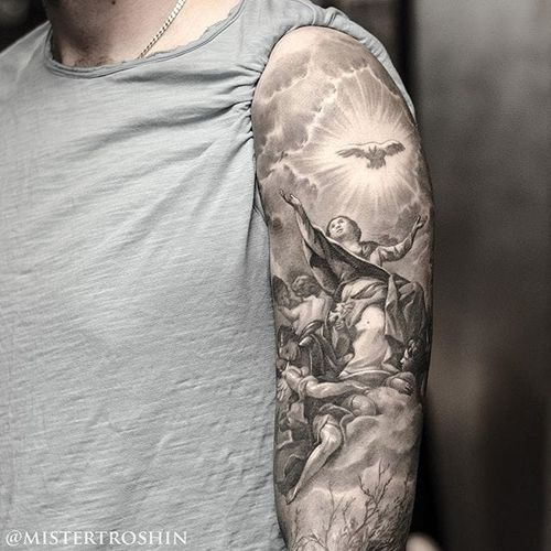 Dmitry Troshin's black and grey religious tattoos are utterly divine.  Via Instagram mistertroshin #blackandgrey  #Christian #DmitryTroshin #realism #angels #portrait