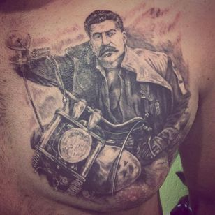 Stalin on a motorcycle by Pavel (via IG -- skvorec13) #pavel #stalin #motorcycle