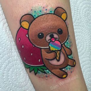 Cute lil bear eating ice cream Tattoo by Sam Whitehead @Samwhiteheadtattoos #Samwhiteheadtattoos #Colorful #Girly #Girlytattoo #Neotraditional #Blindeyetattoocompany #Leeds #UK #bear #icecream