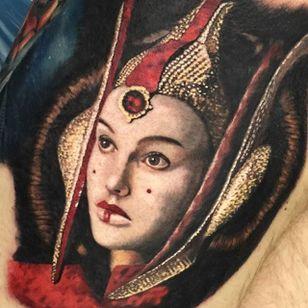 Queen Amidala Tattoo by Chad Jacob #QueenAmidala #Portrait #ColorPortrait #PortraitTattoos #ColorRealism #ChadJacob #QueenAmidala