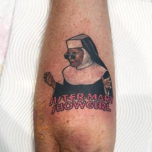 Sister Act 2 tattoo by Lauren Winzer #LaurenWinzer #movietattoos #color #realism #realistic #portrait #whoopigoldberg #sisteract #actress #comedy #funnytattoo #text #quote #nun