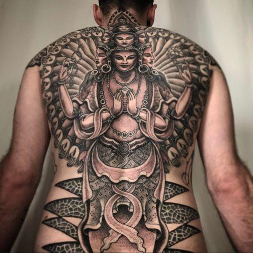An absolutely divine back-piece by Jondix (IG—jondix). #blackandgrey #Jondix #Vajrasattva