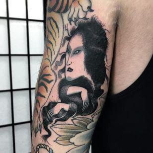 Japanese Ghost Tattoo by Matt Craven Evans #ghost #japaneseghost #blackwork #blackworkart #darkart #blackworkartist #traditionalblackwork #MattCravenEvans