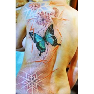 Unique butterfly tattoo by Mich Beck #MichBeck #graphic #artistic #butterfly #dotwork #colorful #artsy