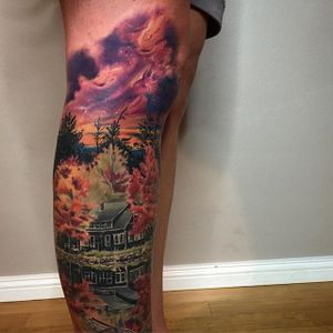 Landscape Tattoo by David Giersch #landscape #watercolor #watercolortattoo #watercolorrealism #portraitrealism #colorrealism #DavidGiersch