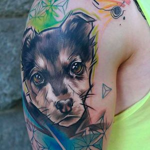 Cute portrait of a puppy with awesome composition. #SandraDaukshta #puppy #dog #pet #puppytattoo