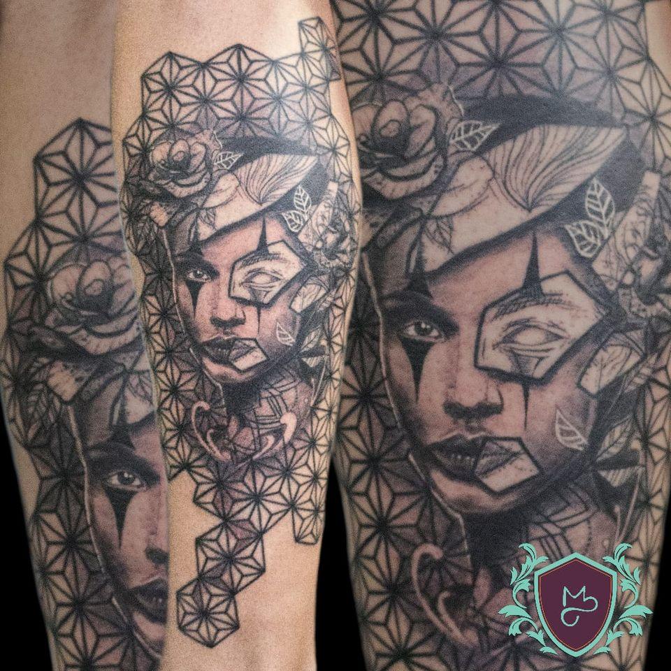 Art Fusion Chicano. #AndreMelo #tatuadoresdobrasil #sketch #ArtFusion #chicano #geometria #geometry #pretoecinza #blackandgrey