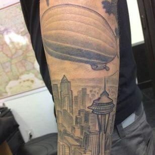 Blimp over Seattle (via IG -- inkillusionstattoo) #seattle #blimp #blimptattoo #zeppelin #zeppelintattoo