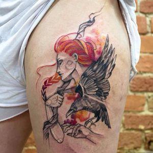 Lindo trabalho de Falka Art #FalkaArt #gringa #watercolor #aquarela #sketchstyle #estilorascunho #nature #natureza #woman #mulher #redhead #corvo #reaven #cajado #staff