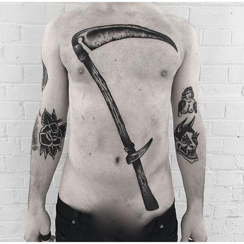 Blackwork Scythe Tattoo #blackwork #traditionalblackwork #blacktattoos #blackink #SimoneRuco #scythe