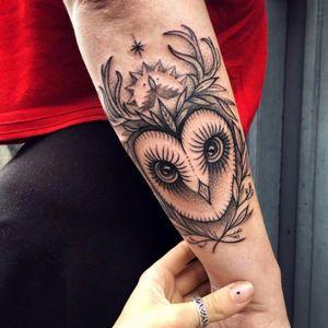 Cute owl tattoo #blacktattoo #linework #blackwork #lines #blckwrk #dotwork #myforestink #sashakiseleva #btattooing #blxckink #onlyblackart #blacktattoomag #owl #nativeamerican