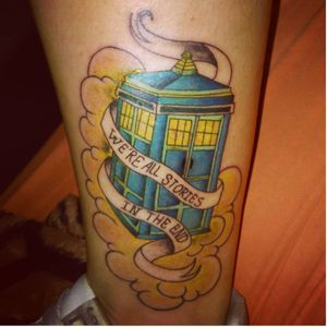The Eleventh Doctor's final words and his TARDIS (IG-aylachagas_) #doctorwho #doctorwhotattoo #traditionaltattoo #scifitattoo