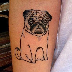 Por Susanne König! #SusanneKonig #Pug #pugtattoo #dogtattoo #dog #cachorro #cachorrotattoo