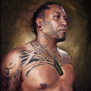 An excellent depiction of Aisea via Shawn Barber (IG—shawndbarber). #Aisea #fineart #paintings #portraits #ShawnBarber #tattooists