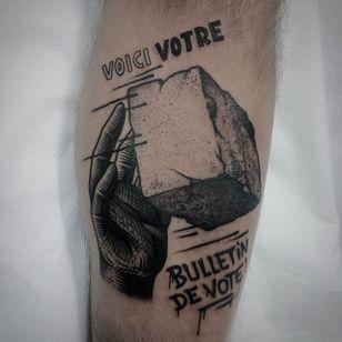 Politics Tattoo by Jaffa Wane #politics #politicstattoo #blackwork #blackworktattoo #blackworkartist #darkart #JaffaWane