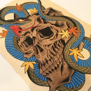 Awesome color combinations in this skull design. Tattoo design by Chris O'Donnell. #ChrisODonnell #TraditionalJapanese #KingsAvenueTattoo #NewYorkTattooer #oriental #easternculture #snake #asianart #skull #illustration