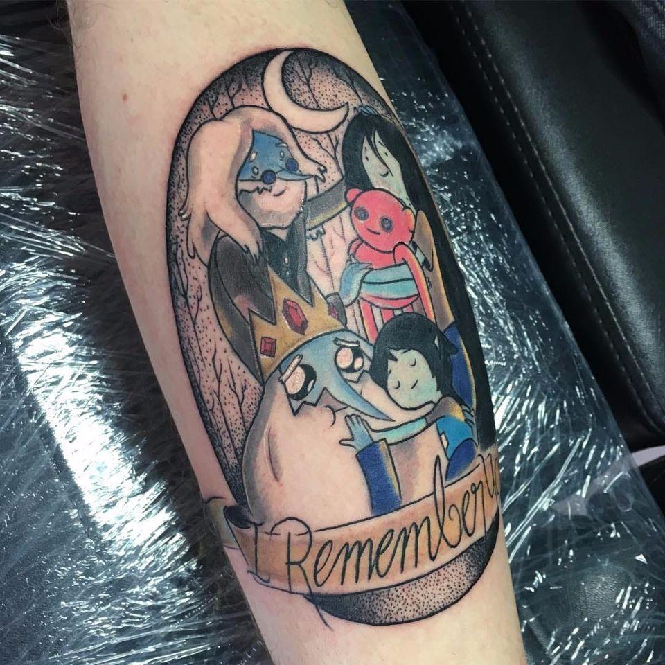Tattoo de hora de aventura feita por Katherine N. Zuñiga! #KatherineZuniga #cartoonnetwork #cartoon #nerd #geek #cartoon #marceline #vampirequeen #simon #iceking #horadeaventura