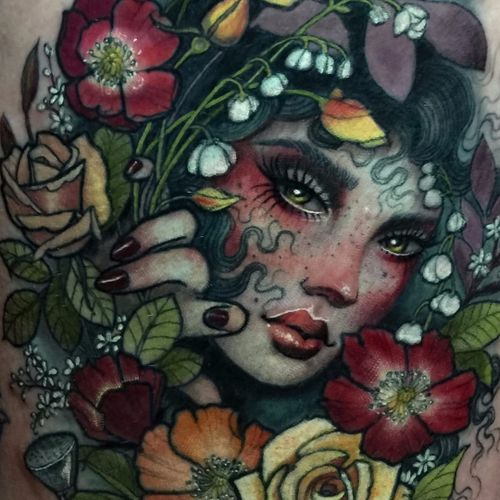 Woodland goddess by Hannah Flowers #HannahFlowers #portrait #neotraditional #realistic #lady #eyes #flowers #roses #bluebells #poppies #leaves #nature #forest #woods #color #tattoooftheday